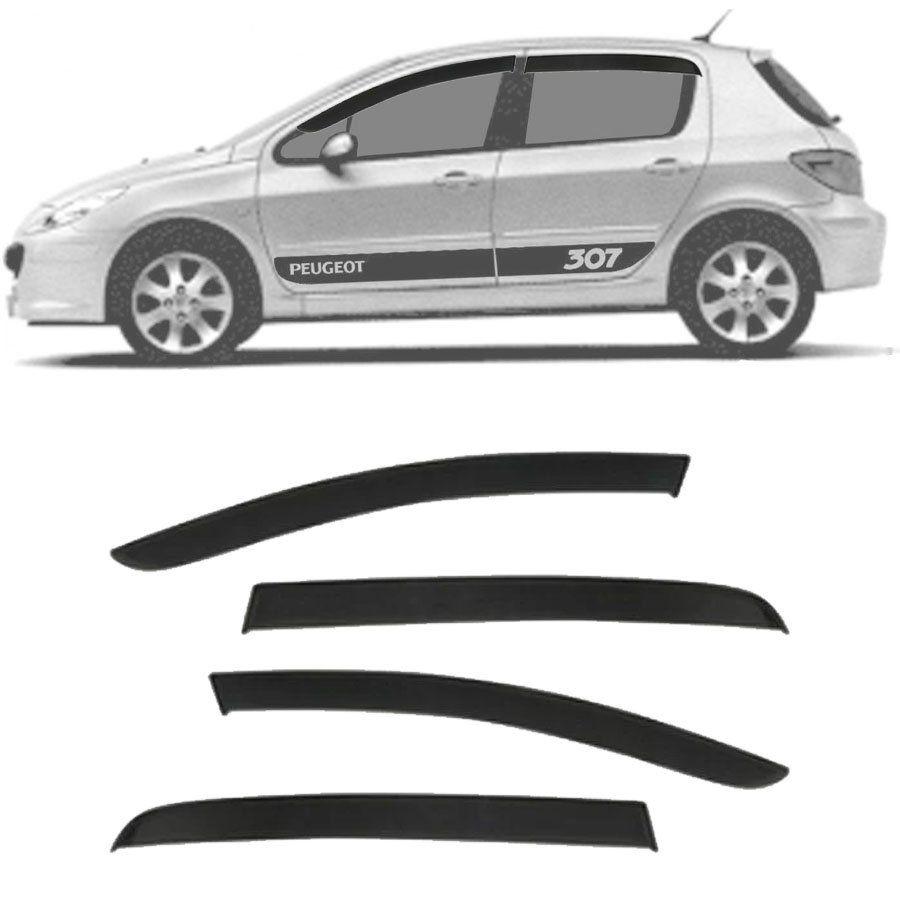 Calha de Chuva Esportiva Peugeot 307 Hatch / Sedan / SW 2001 até 2012 Fumê Tg Poli