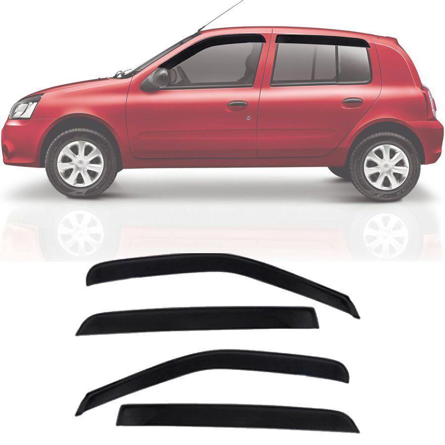 Calha de Chuva Esportiva Renault Clio 2000 até 2016 4 Portas Fumê Tg Poli