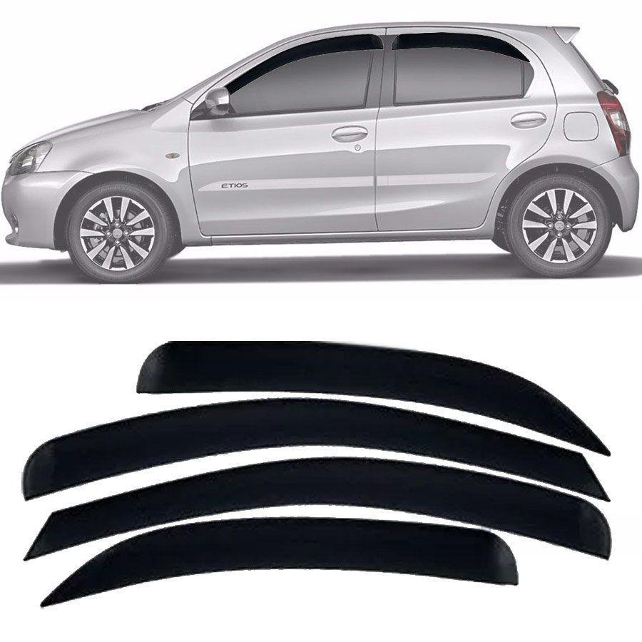Calha de Chuva Esportiva Toyota Etios 2012 13 14 15 16 17 18 Hatch / Sedan Fumê Tg Poli