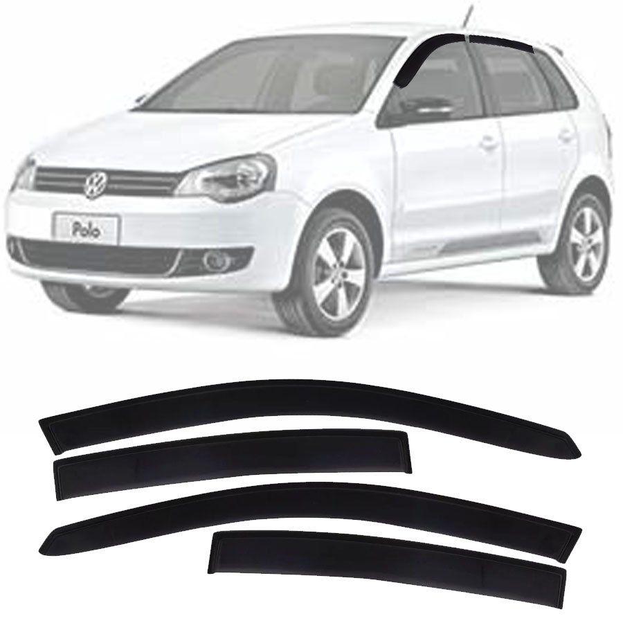 Calha de Chuva Esportiva Volkswagen Polo Hatch 2002 Até 2014 Fumê Tg Poli
