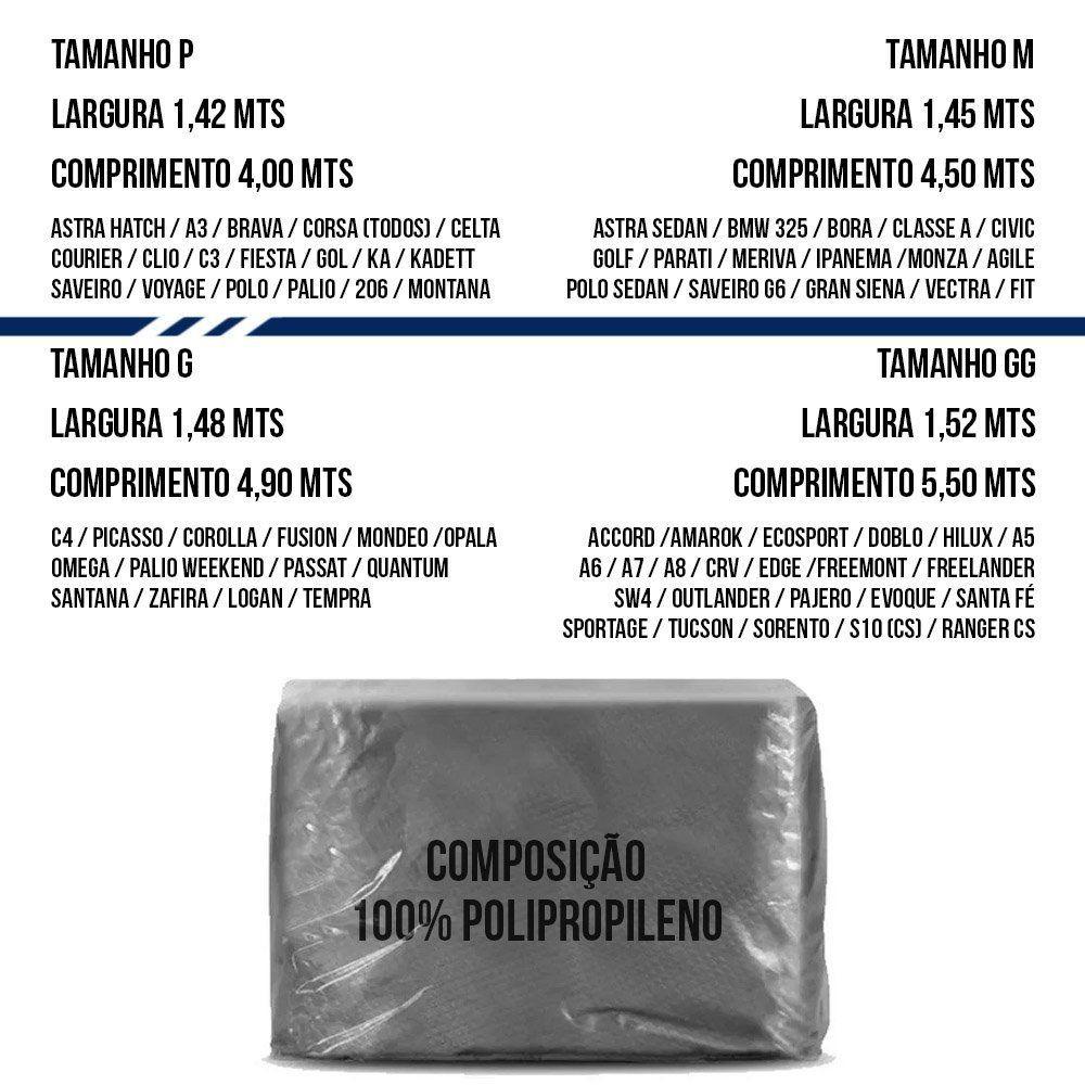 Capa Protetora para Cobrir Carro 100% Impermeável com Forro Central e Elástico Tamanho GG Cinza