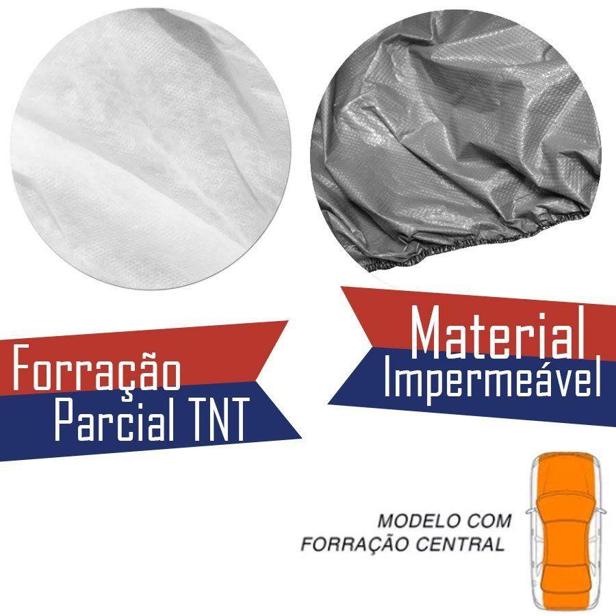 Capa Protetora para Cobrir Carro 100% Impermeável com Forro Central e Elástico Tamanho GG Cinza Fiat Toro
