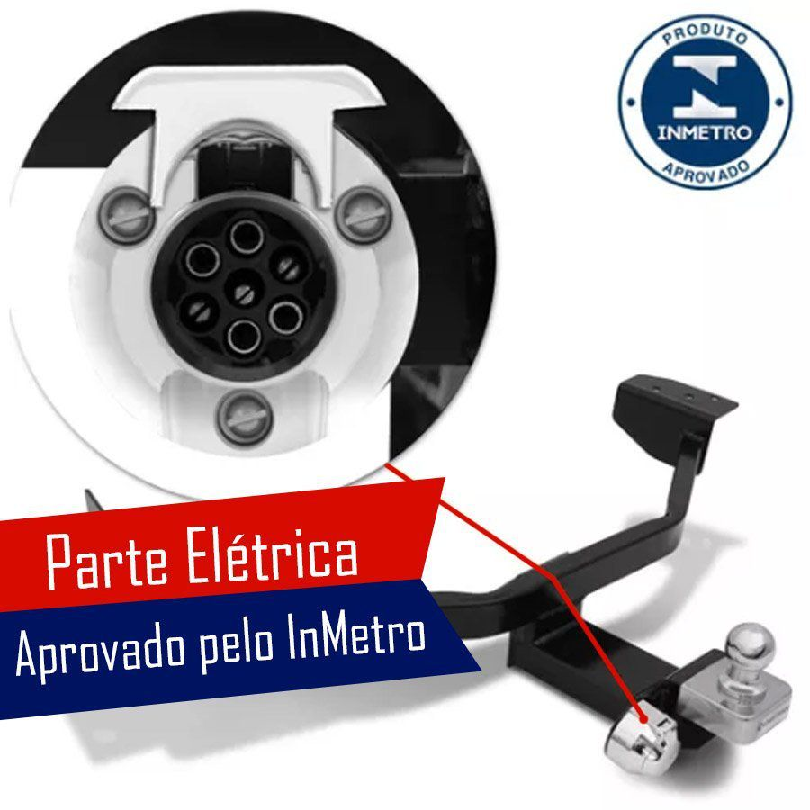 Engate Para Reboque Rabicho Renault Sandero Authentique Dynamique Stepway 2015 16 17 18 Tração 400Kg InMetro