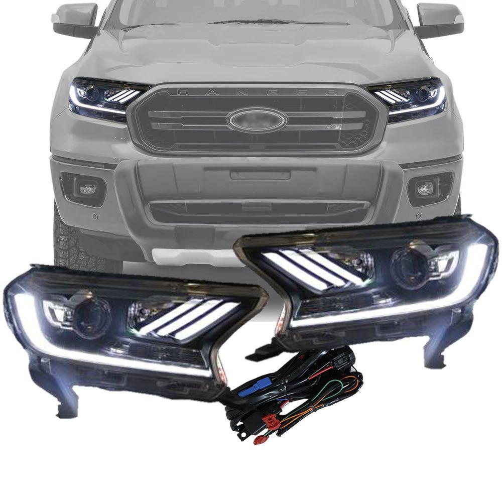 Farol Principal LED DRL Luz Diurna Daylight Plug and Play Ford Ranger 2019 20 Estilo Mustang