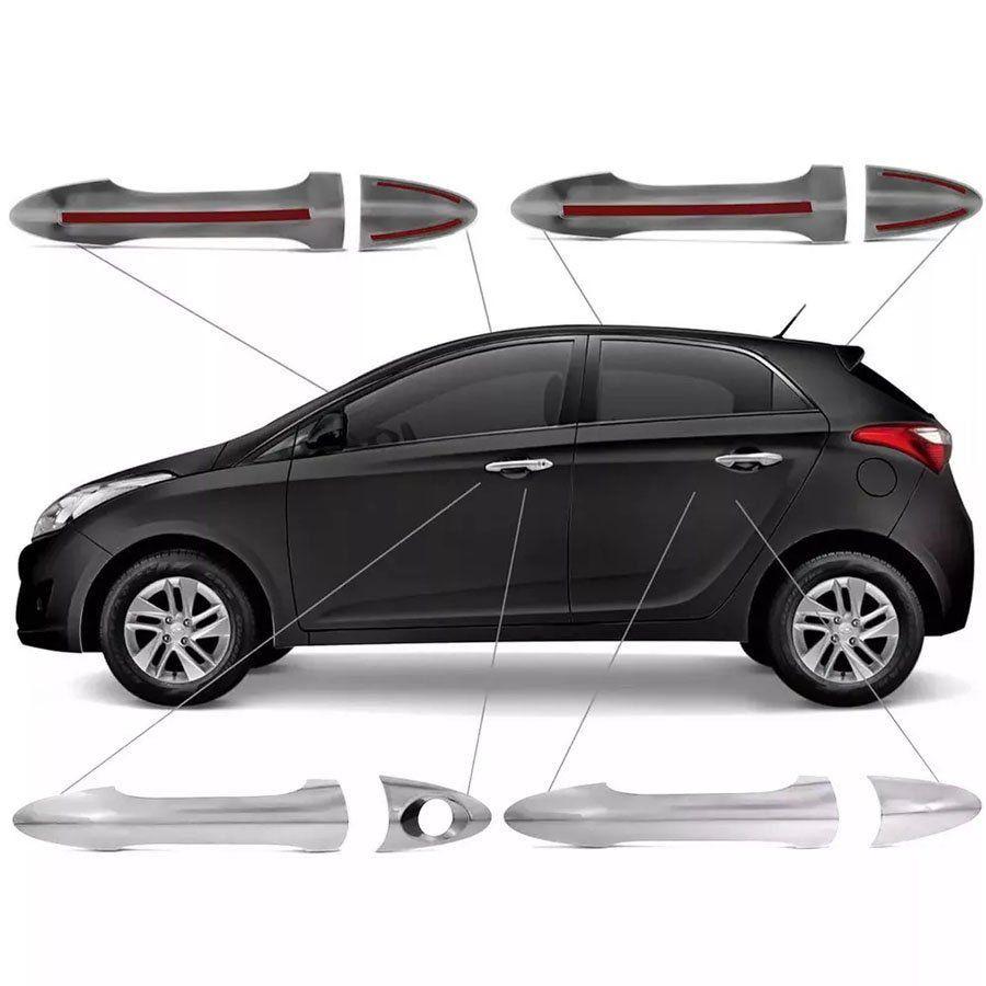 Jogo Aplique de Maçaneta Cromado Hyundai Hb20 Hb20s 2012 13 14 15 16 17 18 19 4 Portas Fácil Aplicação
