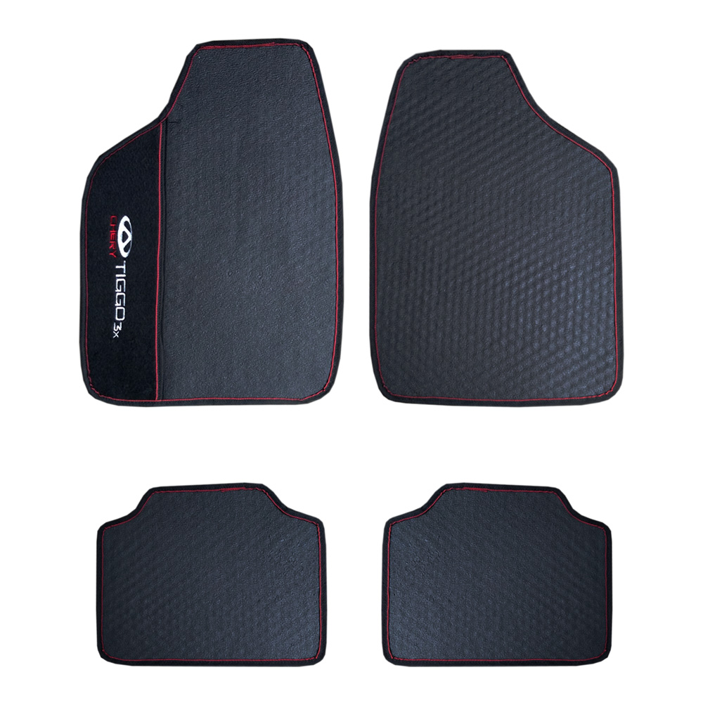 Jogo de Tapete Borracha Pvc Impermeável Universal Chery Tiggo 3x Tiggo3x Preto Bordado Carpete Antiderrapante Impermeável