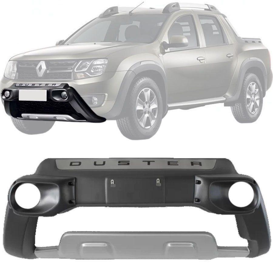 Kit Aventura Overbumper Bumper Front Bumper Renault Oroch 2015 16 17 18 19 Com Suporte de Farol de MIlha