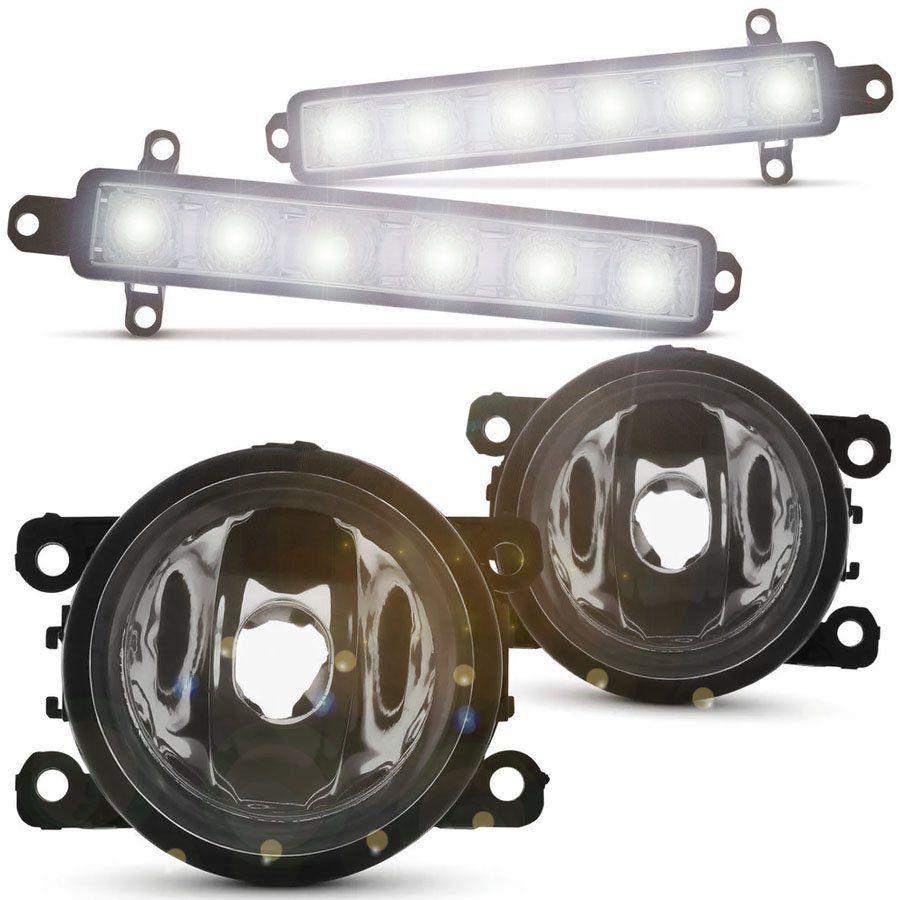 Kit Farol de Milha Completo Citroen C3 2013 14 15 16 17 Com Lâmpada Auxiliar Daylight 6 Led's