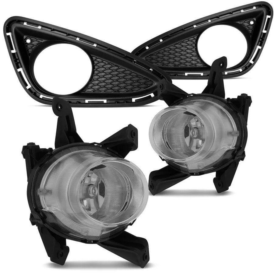 Kit Farol de Milha Completo Hb20 2012 13 14 15 Hb20s 2013 14 15 Com Botão Trip Auxiliar Neblina