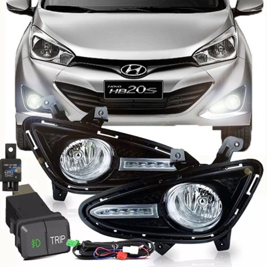 Kit Farol de Milha Completo Hyundai Hb20 2012 13 14 15 Hb20s 2013 14 15 Com Moldura Daylight Auxiliar Neblina