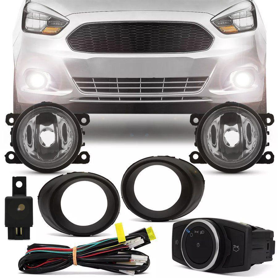 Kit Farol de Milha Completo Ford Ka 2015 16 17 18 19 Botão Mod. Original Auxiliar Neblina