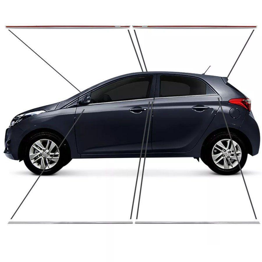 Kit Friso Pestana Cromado Para Janela Hyundai Hb20 Hb20s 2012 13 14 15 16 17 18 19 4 Portas