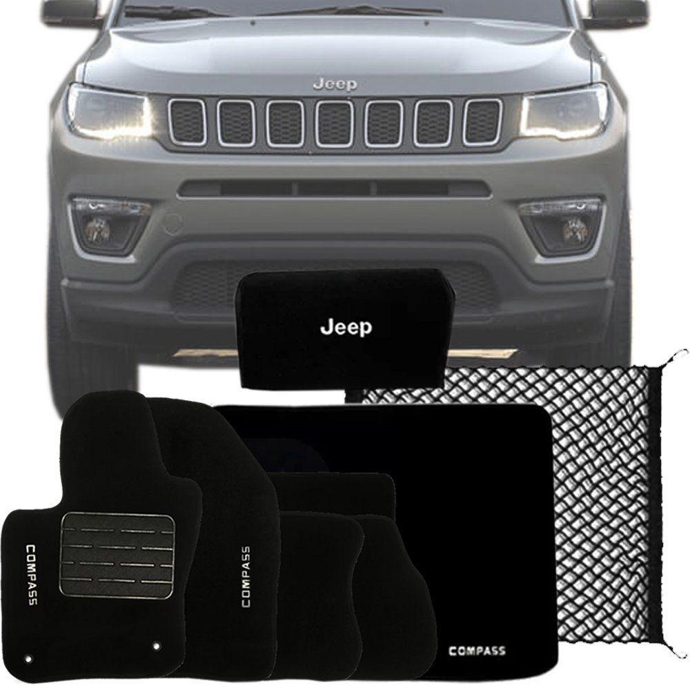 Kit Tapete Carpete Rede Bolsa Tapete Porta Malas Jeep Compass 2018 19
