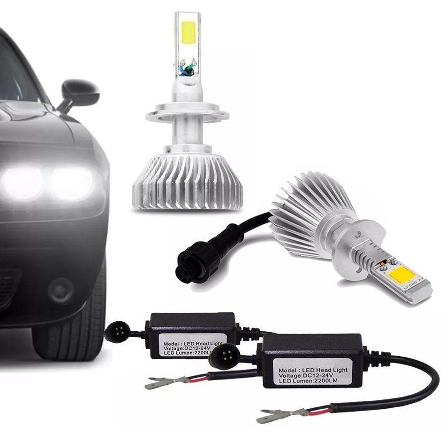 Lâmpada Super LED Headlight 6000K Efeito Xênon Com Fonte Embutida