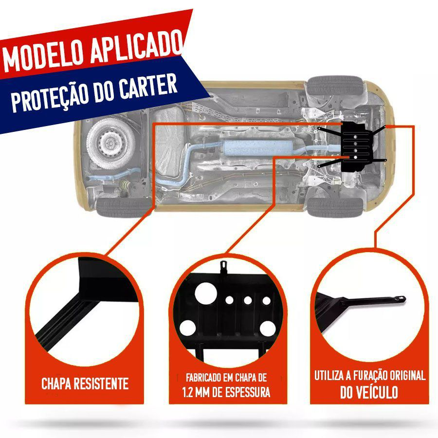 Protetor de Carter Completo Chevrolet Corsa Meriva Montana Com Parafusos Fixadores