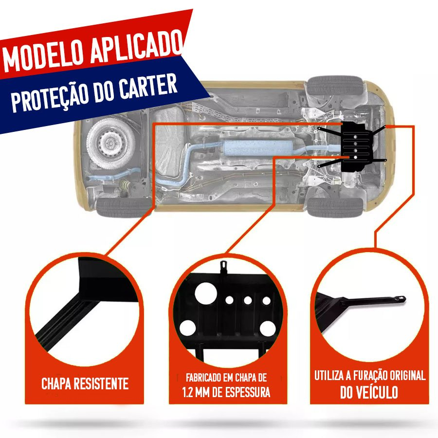 Protetor de Carter Completo Fiat Idea 2010 11 12 13 14 Com Parafusos Fixadores