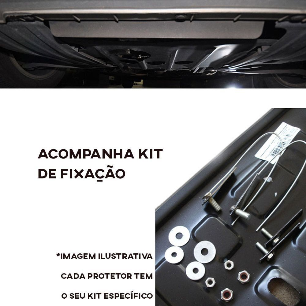 Protetor de Carter Completo Renault Logan Sandero 2014 15 16 17 18 19 20 21 Com Parafusos Fixadores