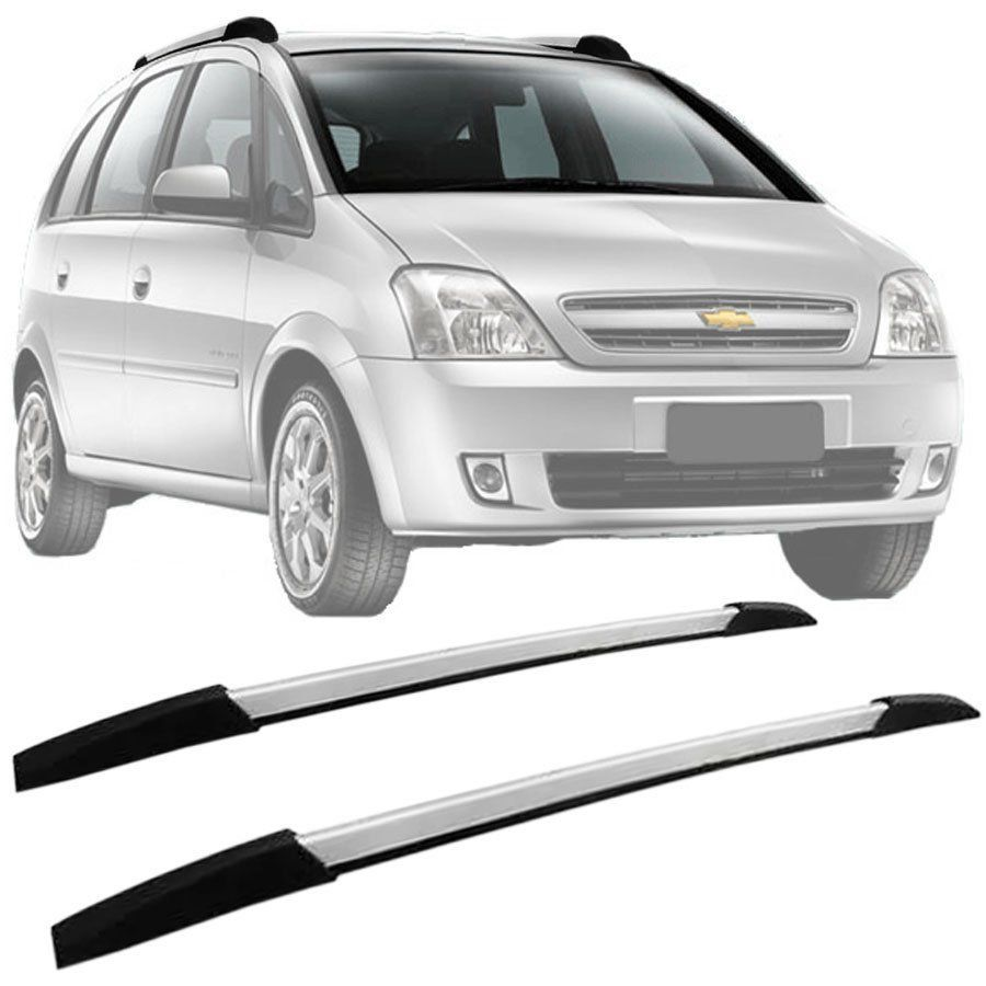 Rack de Teto Longarina Decorativa Chevrolet Meriva 2002 03 04 05 06 07 08 09 10 11 12 Prata Tg Poli