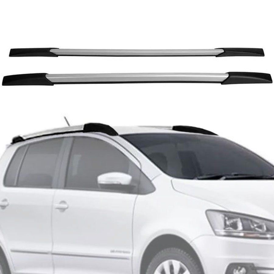 Rack de Teto Longarina Decorativa Volkswagen Fox 2004 05 06 07 08 09 10 11 12 13 14 15 16 17 18 19 Prata Tg Poli