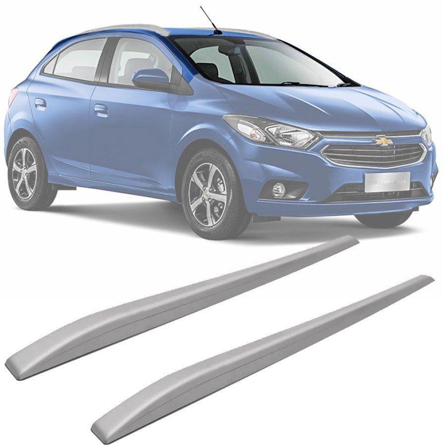 Rack de Teto Longarina Slim Decorativo Chevrolet Onix 2012 13 14 15 16 17 18 19 Prata Preto 2 Peças Fácil Aplicação Dupla Face