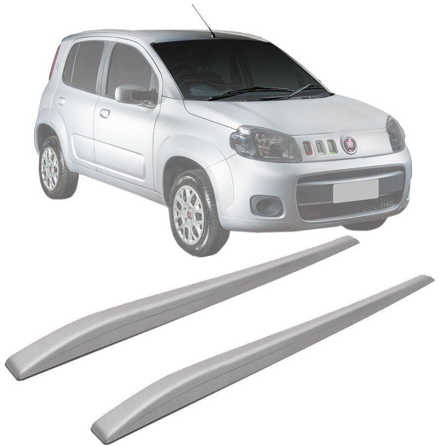 Rack de Teto Longarina Slim Decorativo Fiat Uno 2000 a 2019 Prata Preto 2 Peças Fácil Aplicação Dupla Face