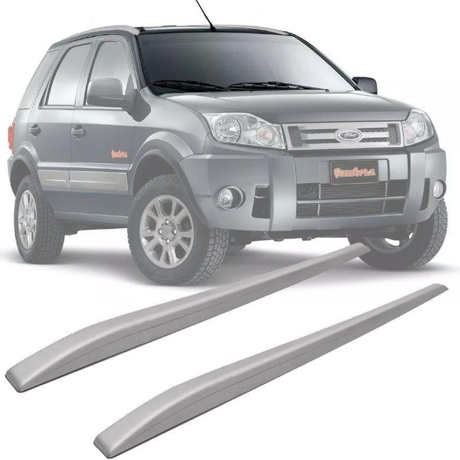 Rack de Teto Longarina Slim Decorativo Ford Ecosport 2006 07 08 09 10 11 12 Prata Preto 2 Peças Fácil Aplicação Dupla Face
