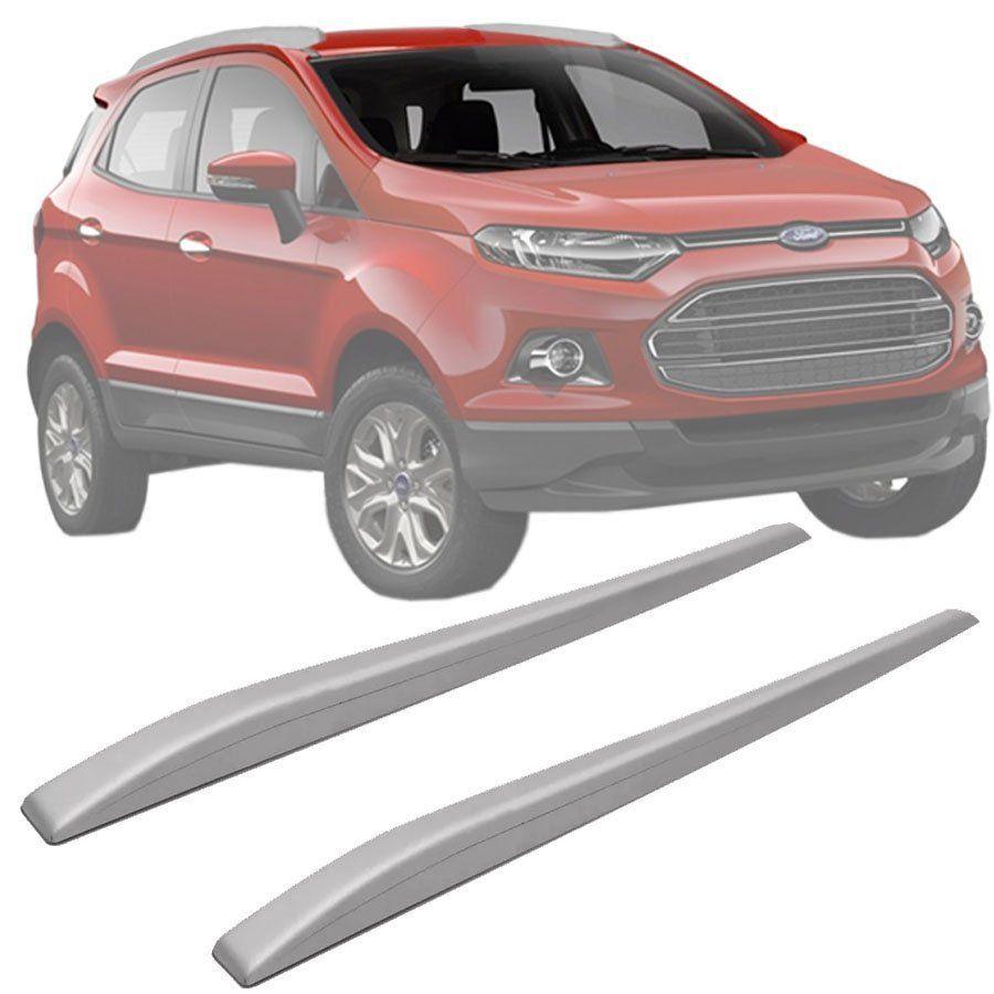 Rack de Teto Longarina Slim Decorativo Ford Ecosport 2013 14 15 16 17 18 19 Prata Preto 2 Peças Fácil Aplicação Dupla Face