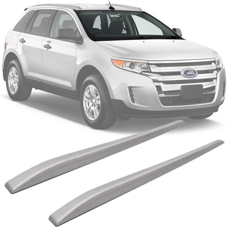 Rack de Teto Longarina Slim Decorativo Ford Edge 2009 10 11 12 13 14 Prata Preto 2 Peças Fácil Aplicação Dupla Face