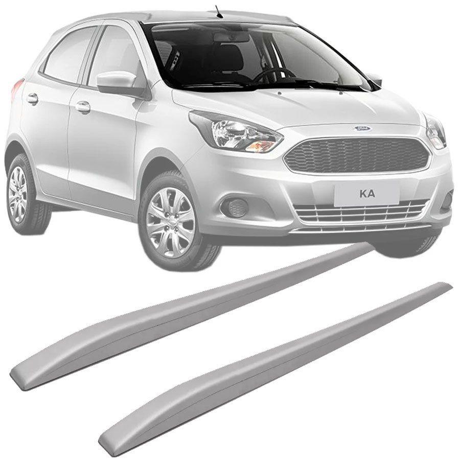 Rack de Teto Longarina Slim Decorativo Ford Ka 2015 16 17 18 19 Prata Preto 2 Peças Fácil Aplicação Dupla Face