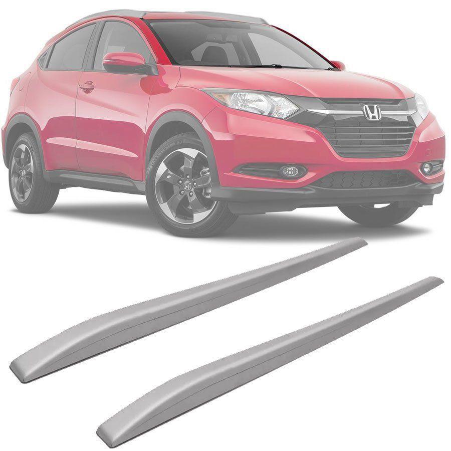 Rack de Teto Longarina Slim Decorativo Honda Hrv Hr-v 2015 16 17 18 19 Prata Preto 2 Peças Fácil Aplicação Dupla Face