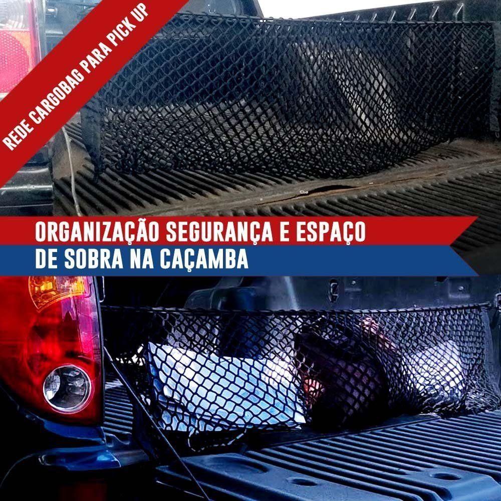 Rede CargoBag Elástica de Contenção Bagagem Para Caçamba de Pickup Pick Up CargoNet Preta Universal