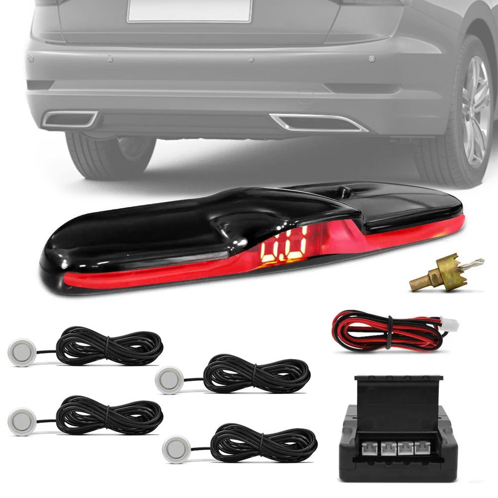 Sensor de Ré Honda Civic Estacionamento 4 Pontos Display Led KX3 Universal Black Piano Slim