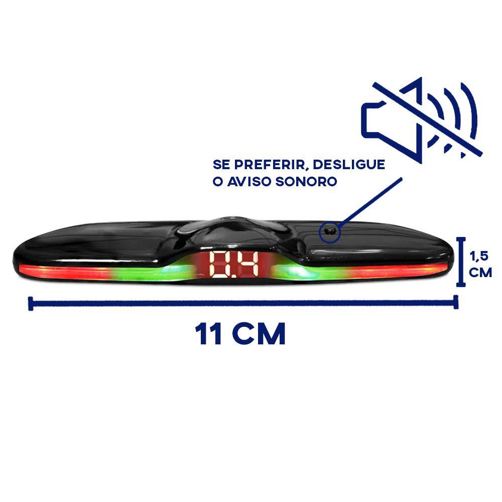 Sensor de Ré Renault Kwid Estacionamento 4 Pontos Display Led KX3 Universal Black Piano Slim