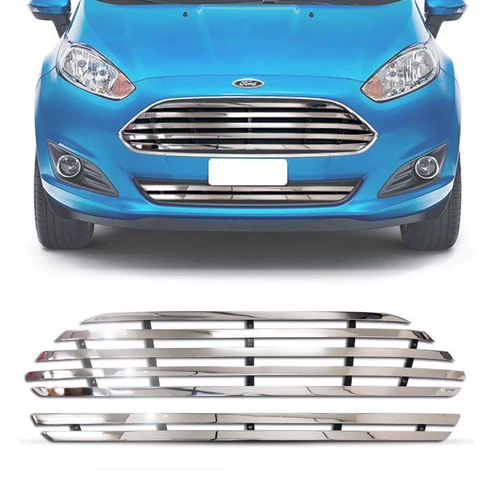 Sobre Grade Ford New Fiesta 2014 A 2017 Cromada Aço Inox