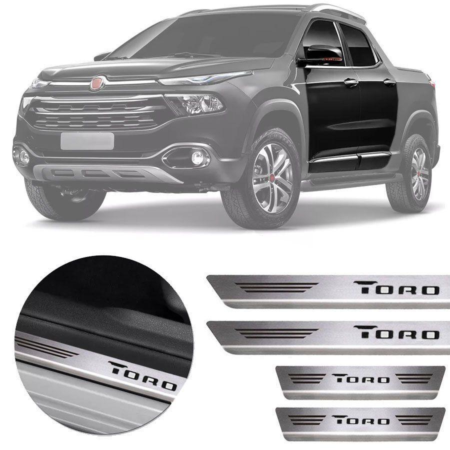 Soleira de Aço Inox Premium Escovado Fiat Toro 2016 17 18 19