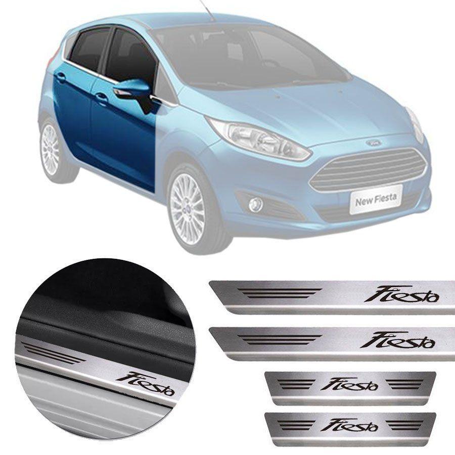 Soleira de Aço Inox Premium Escovado Ford New Fiesta 2013 14 15 16 17 18 19