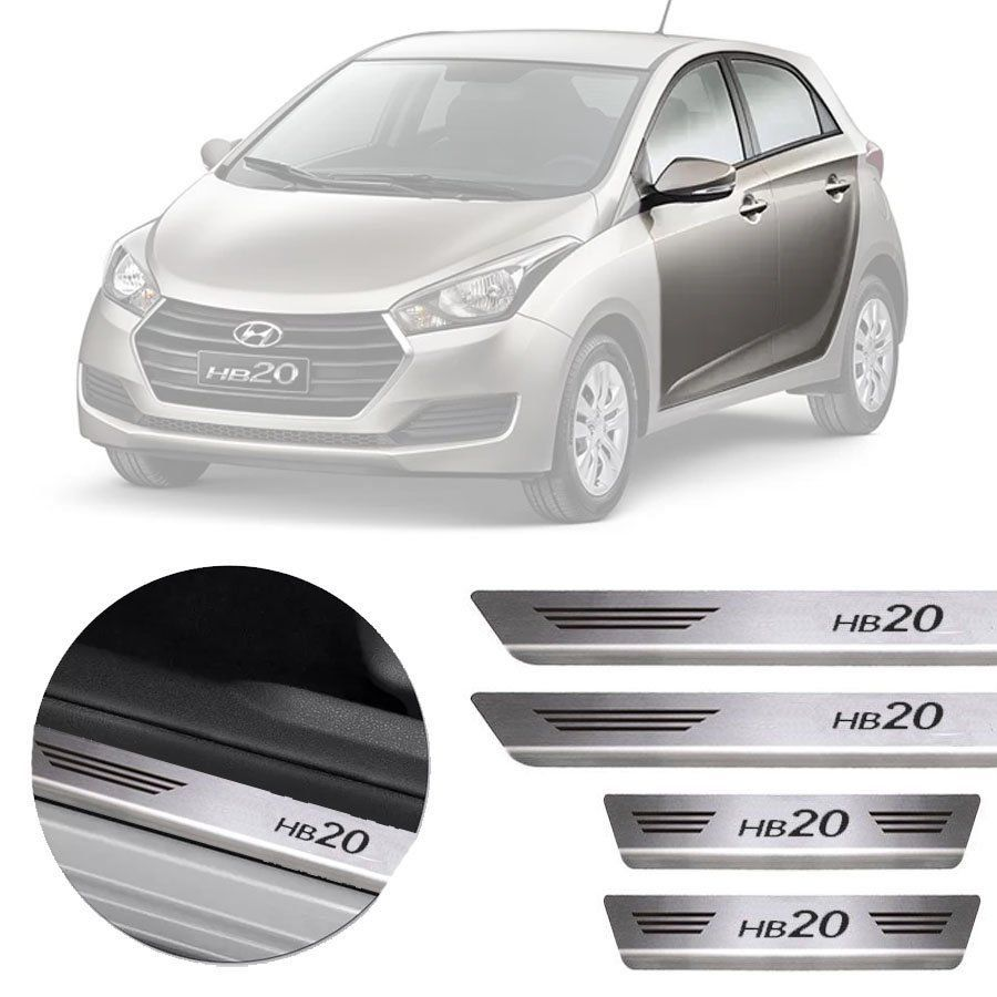 Soleira de Aço Inox Premium Escovado Hyundai Hb20 2012 13 14 15 16 17 18 19