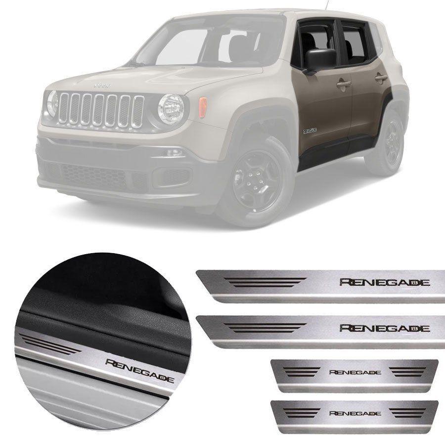 Soleira de Aço Inox Premium Escovado Jeep Renegade 2015 16 17 18 19