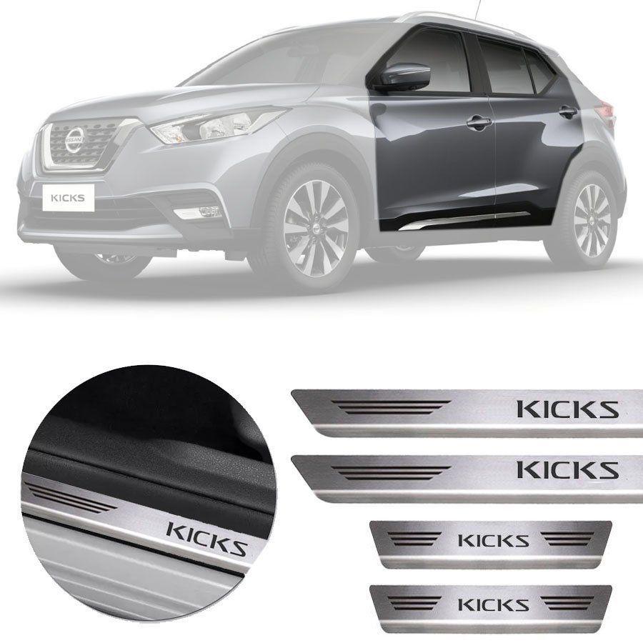 Soleira de Aço Inox Premium Escovado Nissan Kicks 2016 17 18 19 20 21