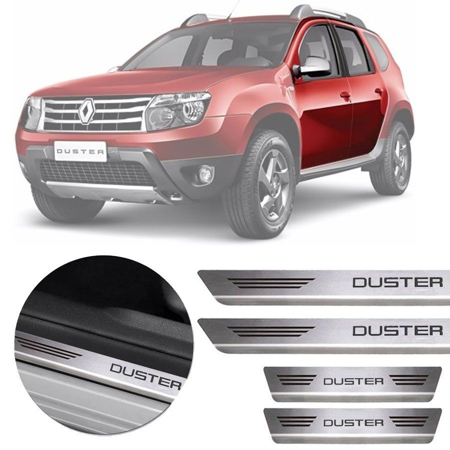 Soleira de Aço Inox Premium Escovado Renault Duster 2012 13 14 15 16 17 18 19