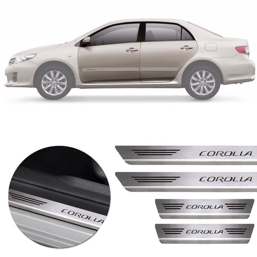 Soleira de Aço Inox Premium Escovado Toyota Corolla 2012 13 14 15 16 17 18 19