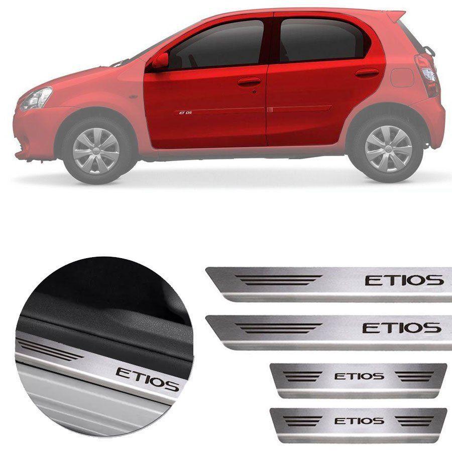 Soleira de Aço Inox Premium Escovado Toyota Etios 2013 14 15 16 17 18 19