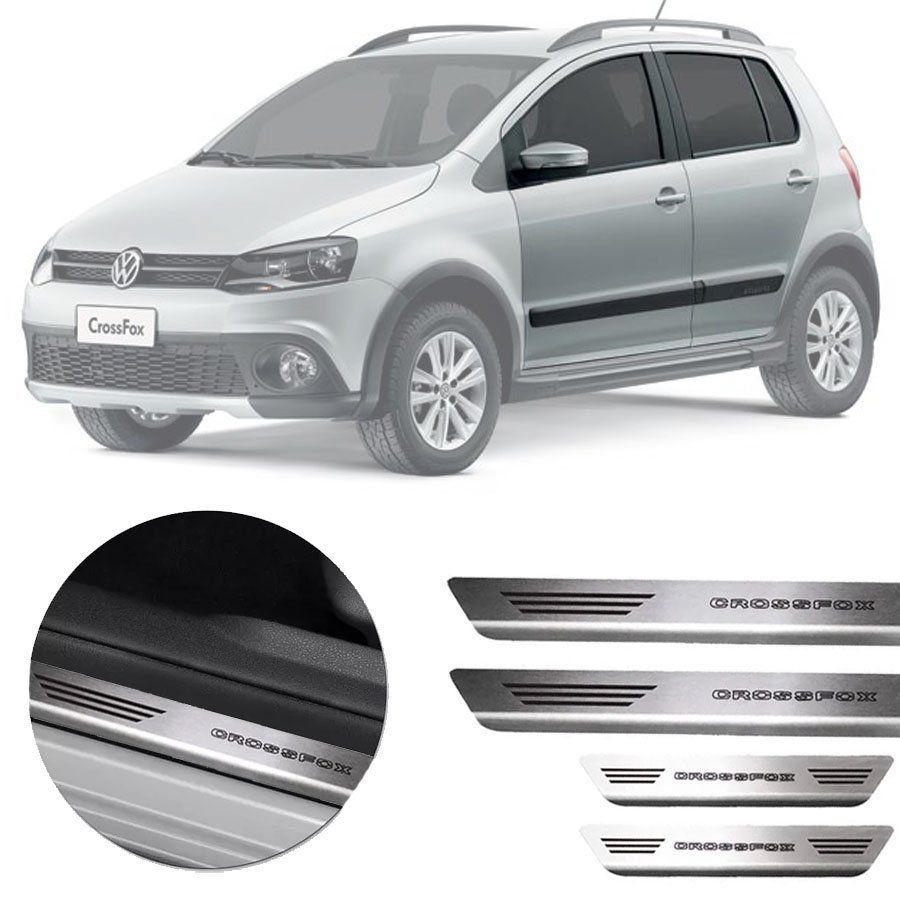Soleira de Aço Inox Premium Escovado Volkswagen Crossfox 2010 11 12 13 14 15 16 17 18