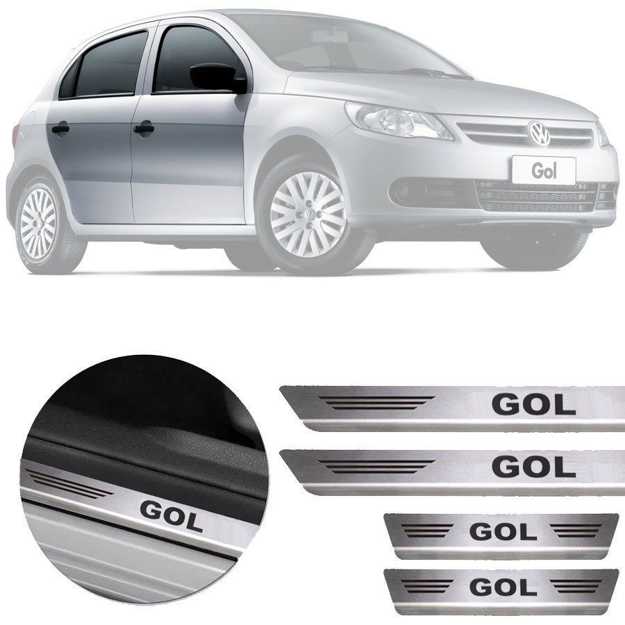 Soleira de Aço Inox Premium Escovado Volkswagen Gol G5 G6 2009 10 11 12 13 14 15 16 17