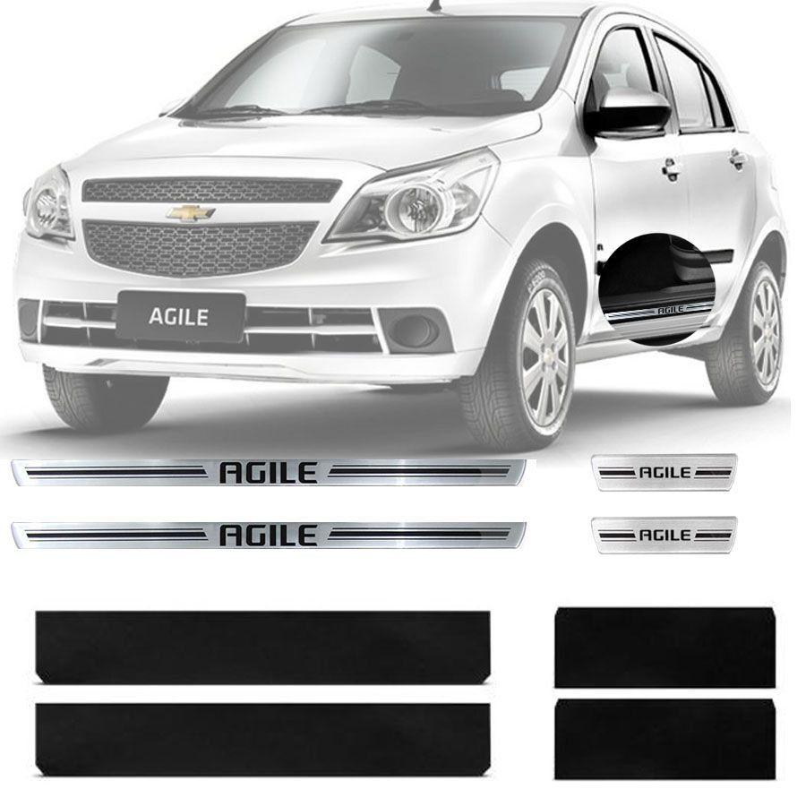 Soleira Resinada Premium Chevrolet Agile 2009 Até 2017 8 Peças