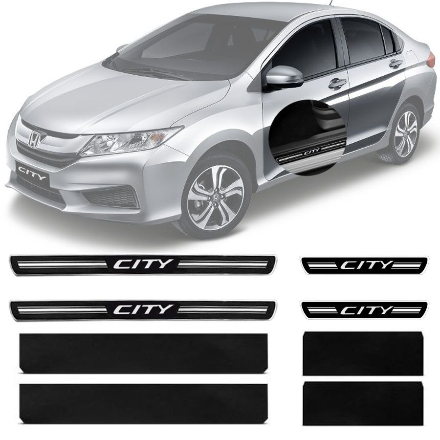 Soleira Resinada Premium Honda City 2009 10 11 12 13 14 15 16 17 8 Peças