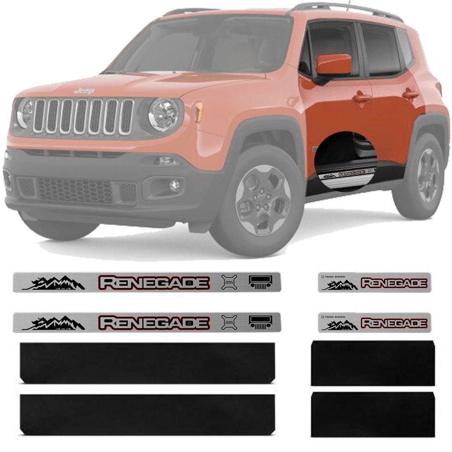 Soleira Resinada Premium Jeep Renegade 2015 16 17 18 19 8 Peças