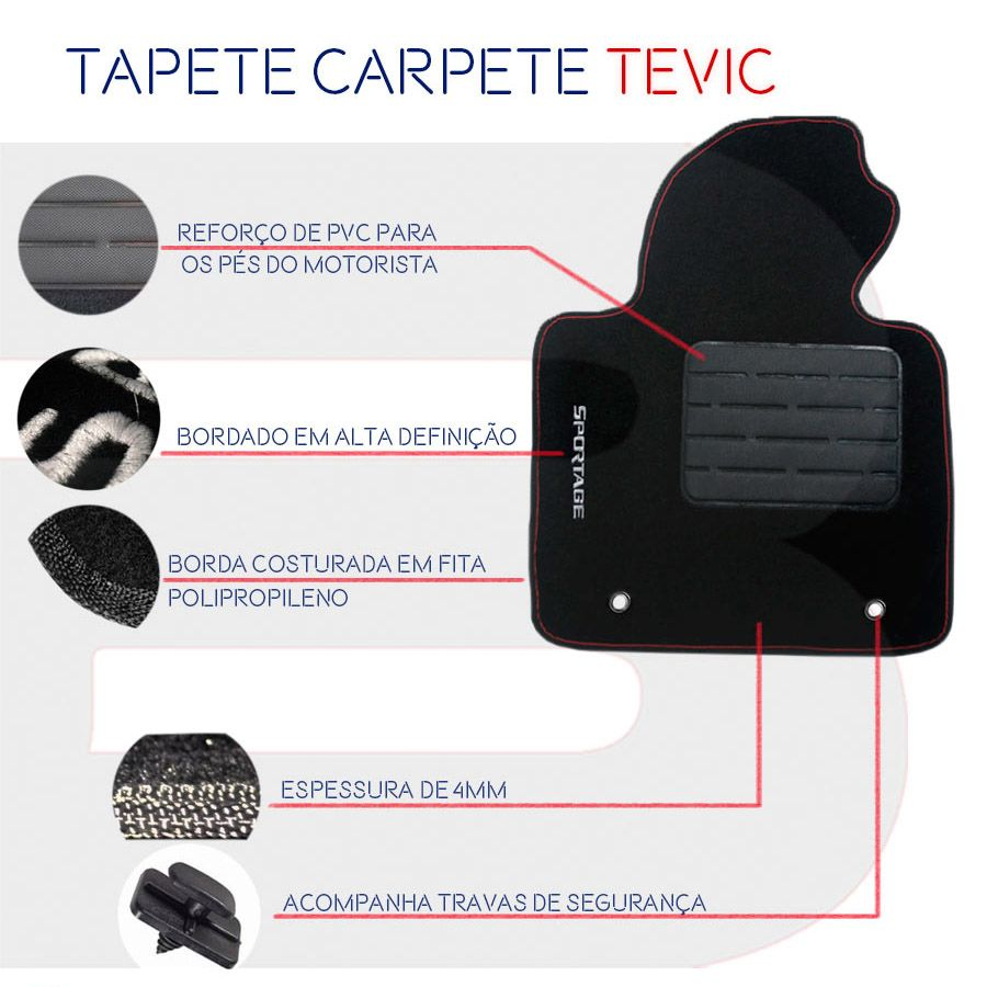 Tapete Carpete Tevic Chevrolet Meriva 2003 04 05 06 07 08 09 10 11 12
