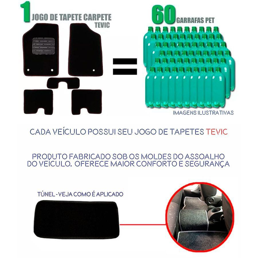 Tapete Carpete Tevic Effa Pick Up Cabine Dupla 3 Peças