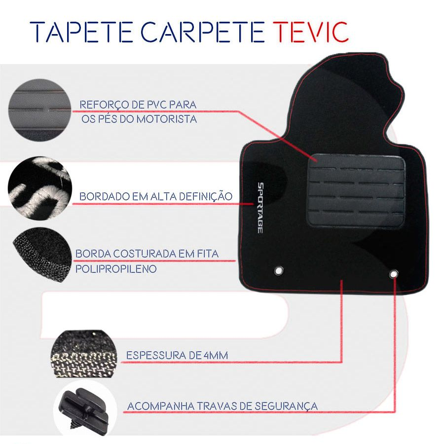 Tapete Carpete Tevic Ford Ecosport 2003 04 05 06 07 08 09 10 11 12